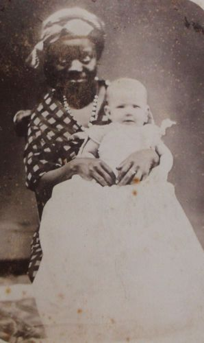 ANTIQUE-CABINET-PHOTO-LITTLE-BABY-SITTING-ON-LAP-OF-BLACK-AFRICAN-AMERICAN-NANNY