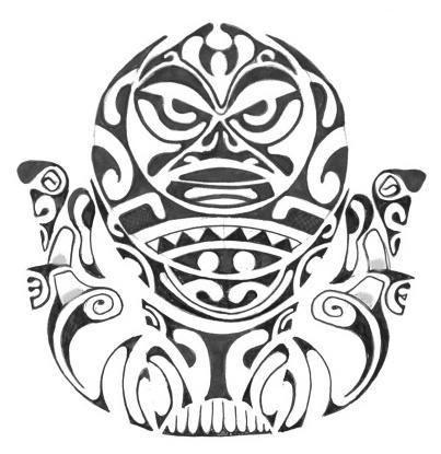 Modèle tattoo tiki polynesien