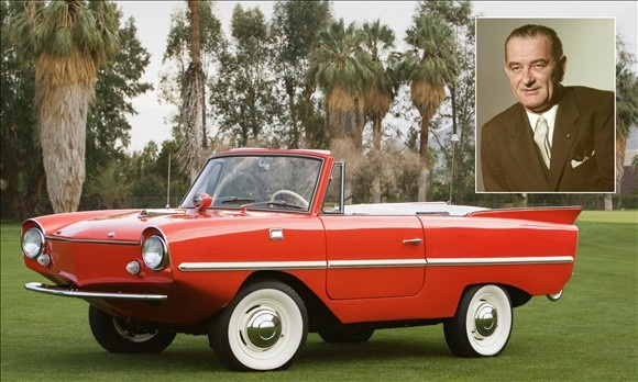 Lyndon Johnson's Amphicar. Produced from 1961 to 1968, the German-built Amphicar could also double as a boat. Johnson was quite the comedian and made a pastime of giving unsuspecting visitors rides in the oddly shaped convertible at his Stonewall, Texas, ranch.