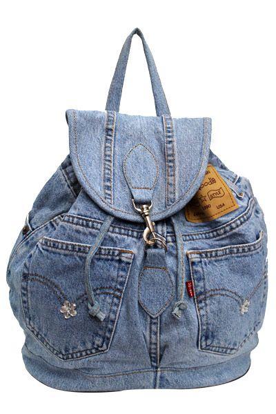 Blue Denim Fashion Backpack  DMB003