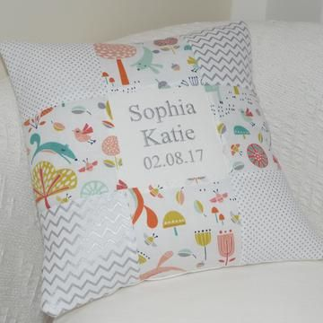 Forest Friends Name and Date Cushion, woodland theme, woodland animals