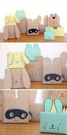 Téléchargez les patrons de ces petites boîtes animales très mignonnes sur des papiers cartonnés de couleurs, découpez-les puis collez les bords ensembles afin de créer la petite boîte. Ensuite à vos stylos pour les détails ! N'oubliez pas de glisser votre petit présent avant de fermer la boîte ;)