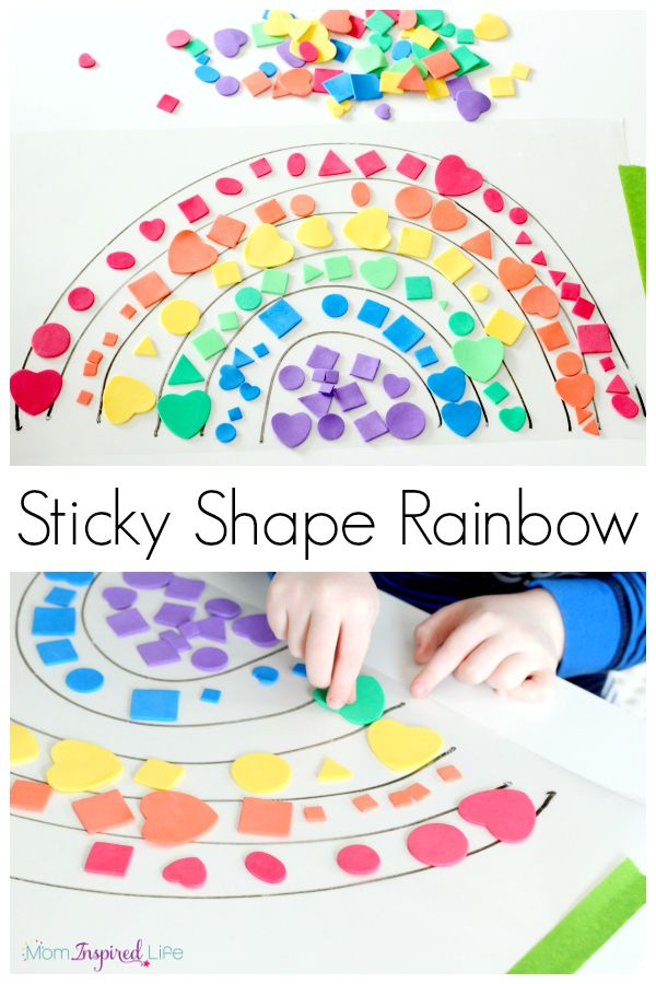 This sticky shape rainbow is a hands-on way for kids to learn colorsand shape identification, practice sorting and even learn the order of colors in a rainbow!
