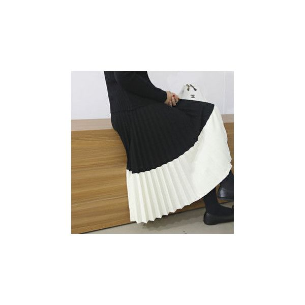 Contrast-Trim Accordion-Pleats Long Knit Skirt (215 PEN) ❤ liked on Polyvore featuring skirts, women, long maxi skirts, long pleated maxi skirt, pleated skirt, long pleated skirt and accordion skirt
