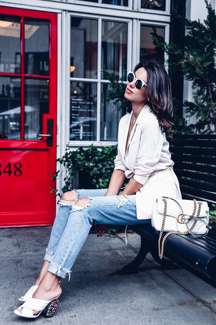 e2acf5f36 VivaLuxury - Fashion Blog by Annabelle Fleur: NTFW DAY 2 - SOFT BLAZER & GUCCI  GG MARMONT | My Style in 2019 | Fashion, Viva luxury, White bag outfit