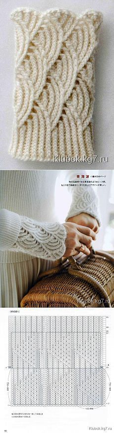 """Митенки-напульсники ажурные спицами 
