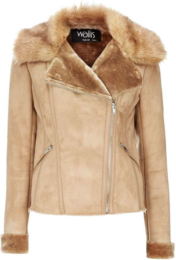 Stone Short Shearling Biker Jacket