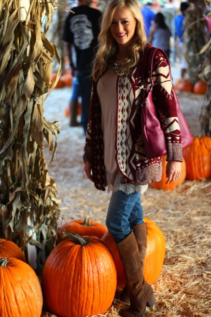 Pumpkin Patch Outfit, Burgundy Cardigan, Brown over the knee boots