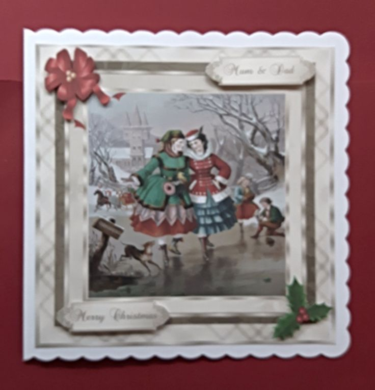 Handmade Christmas card for Mum & Dad with vintage ice skaters