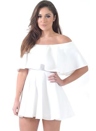 White Off the Shoulder Short Sleeve Ruffle Mini Dress,  Dress, white  ruffle  dress  chic  sexy, Chic #white #offshoulder #dress #cute #summer #trendy #pretty #fashion #love #ootd #obsessed www.UsTrendy.com