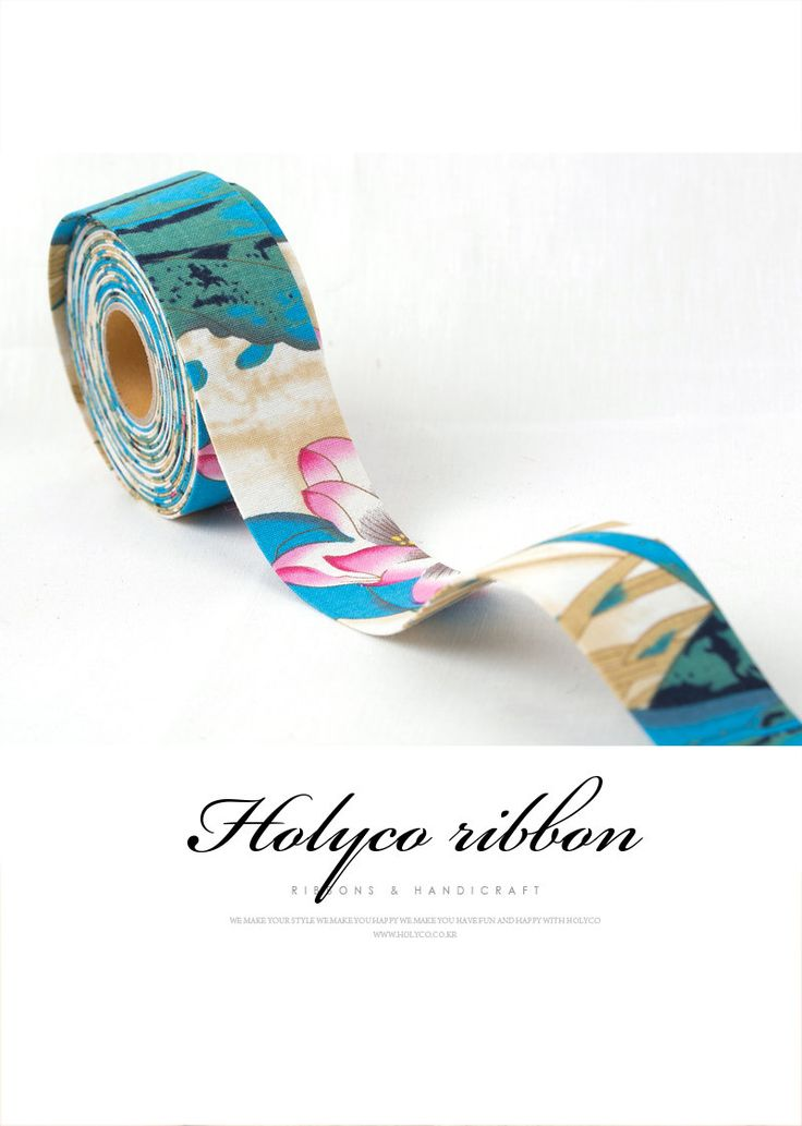 Blue large Flower Printing Folding Fabric Ribbon / 2''(50mm) / made in korea by HOLYCO on Etsy