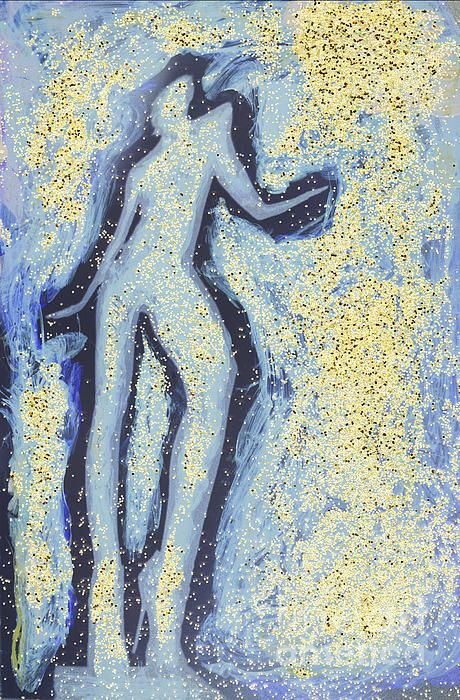 Silhouette of a girl dancing in swirling blues and yellows. A color analog c41 and RA4 film mixed media darkoom print watercolor painted. Copyright Edward Olive fine art photographer from Madrid Spain.