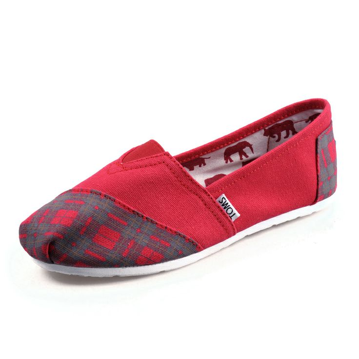 Want To Get The New Arrival Toms Grid Rubber Sole Shoes Red? Will You Be Good Enough To Get It!