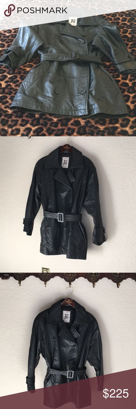 """Jones New York Leather Jacket/Excellent Condition! Fabulous Jones New York Leather Jacket! Wear with or without belt! Looks gorgeous either way! Excellent condition! Only worn a few times!   Width at belt 44"""" Length from back collar 32"""" Jones New York Jackets & Coats"""