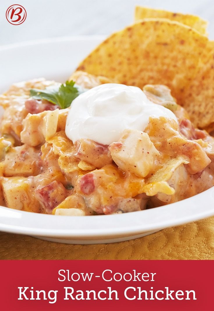 A classic Tex-Mex dish gets a slow-cooker makeover in this king ranch chicken recipe. Cream of chicken and cream of mushroom soup help deliver the irresistible creamy, cheesy texture that wraps the cooked chicken and chopped veggies. Layered with tortillas that are softened while cooking, you'll want to make this dish again and again.