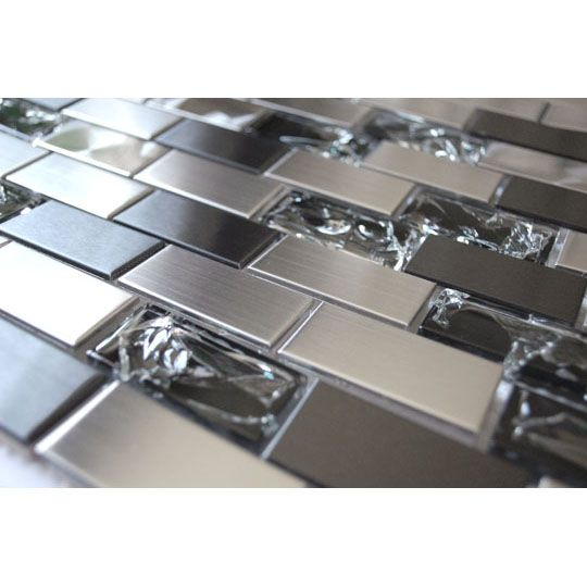 Stainless Steel Tiles For A Modern Backsplash-Stainless Steel And Crackled Glass Mosaic Mix