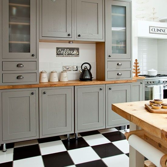 Grey Shaker-style kitchen with tiled flooring | Kitchen decorating | Ideal Home | Housetohome.co.uk