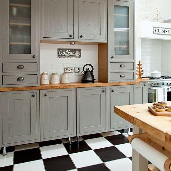 Küchen Küchenideen Küchengeräte Wohnideen Möbel Dekoration Decoration Living Idea Interiors home kitchen - Grau Shaker-Stil Küche mit Fliesenboden