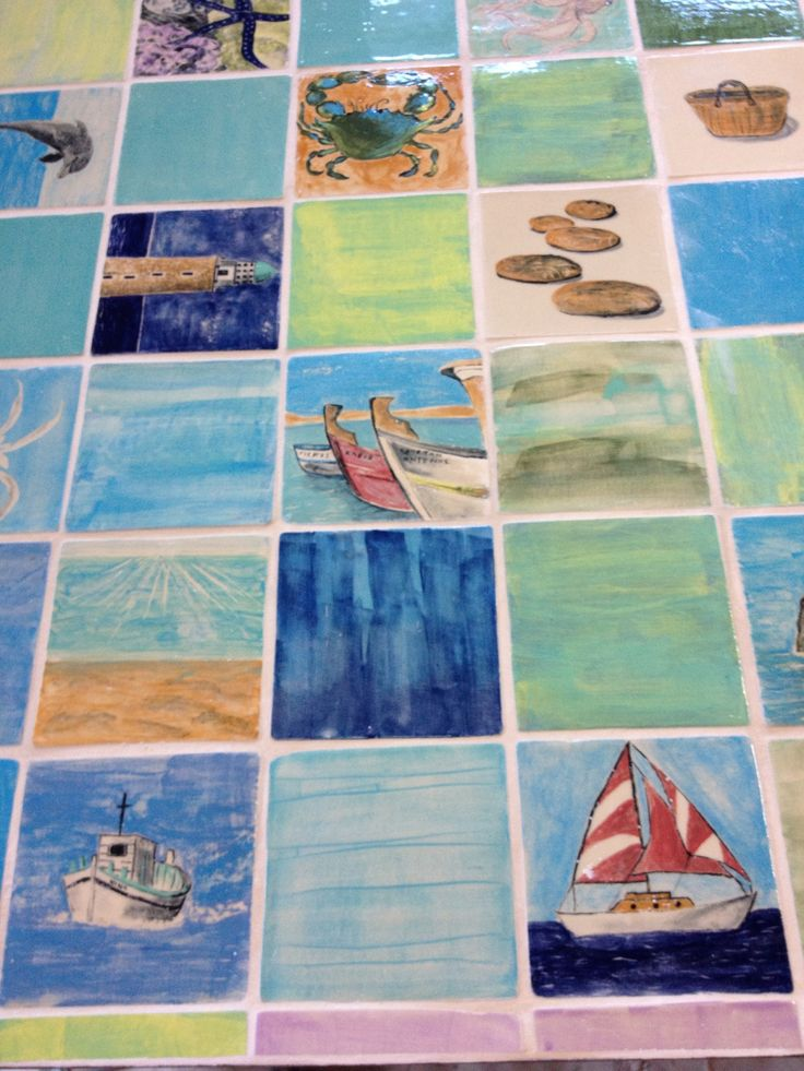 Hand made tiles created by Aline D