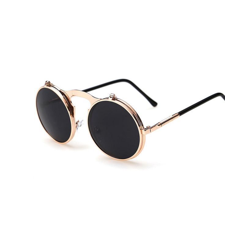 Steampunk Round Flip Sunglasses Eyewear Type: Sunglasses Item Type: Eyewear Department Name: Adult Gender: Women Style: Round Lenses Optical Attribute: Mirror, Anti-Reflective, UV400 Frame Material: A
