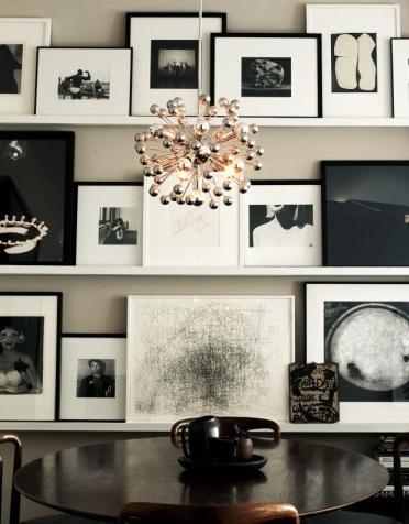 Photography, artwork, floating shelving