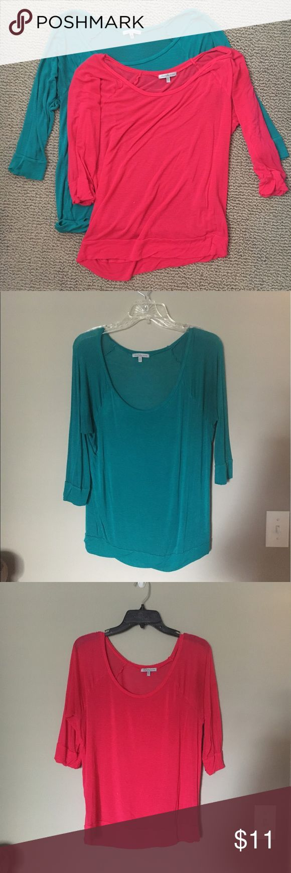 Charlotte Russe Slouchy Top Bundle Two size M Charlotte Russe slouchy tops - sleeves close to three quarter sleeves. Super stretchy, can be adjusted to hang off the shoulder more. One pink and one blue-green, very comfortable! Smoke free home Charlotte Russe Tops