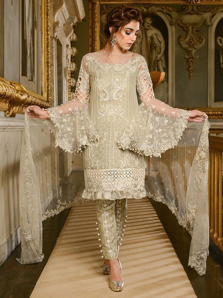 Maria B Mbroidered Wedding Collection- Lvory