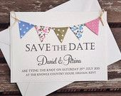 Bunting Save The Date Wedding Invitation, Ivory Card with Country cottage bunting