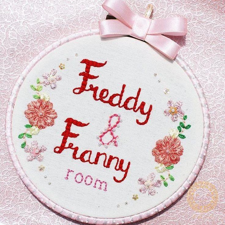 Room signage_handmade signage_hoop art_hand embroidery