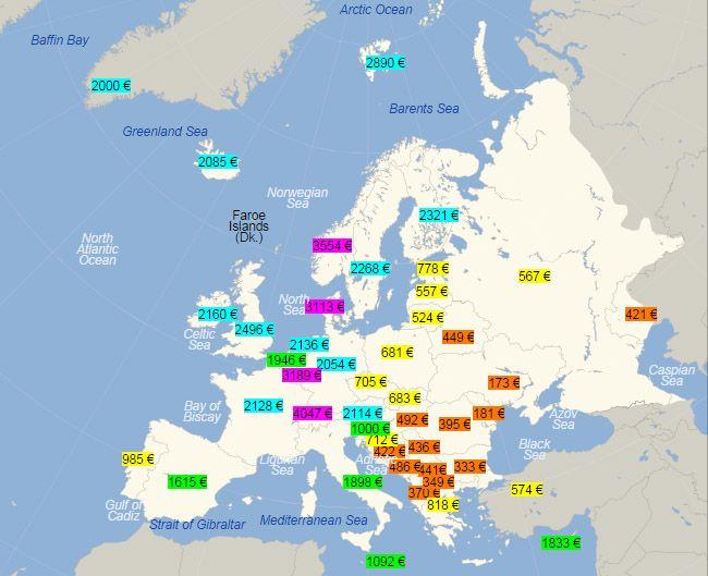 Любопытная наводка от киевского френда и автора путеводителей pan_sapunov на обновлённый рейтинг средних зарплат по странам Европы (не так давно актуализирован по…