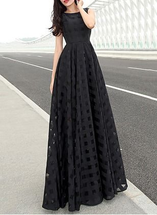 Polyester Solid Sleeveless Maxi Casual Dresses (1025061) @ floryday.com