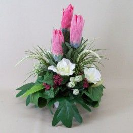 Tropical Artificial Flowers Arrangements | Protea and Lilies in White Porcelain Bowl TRO005