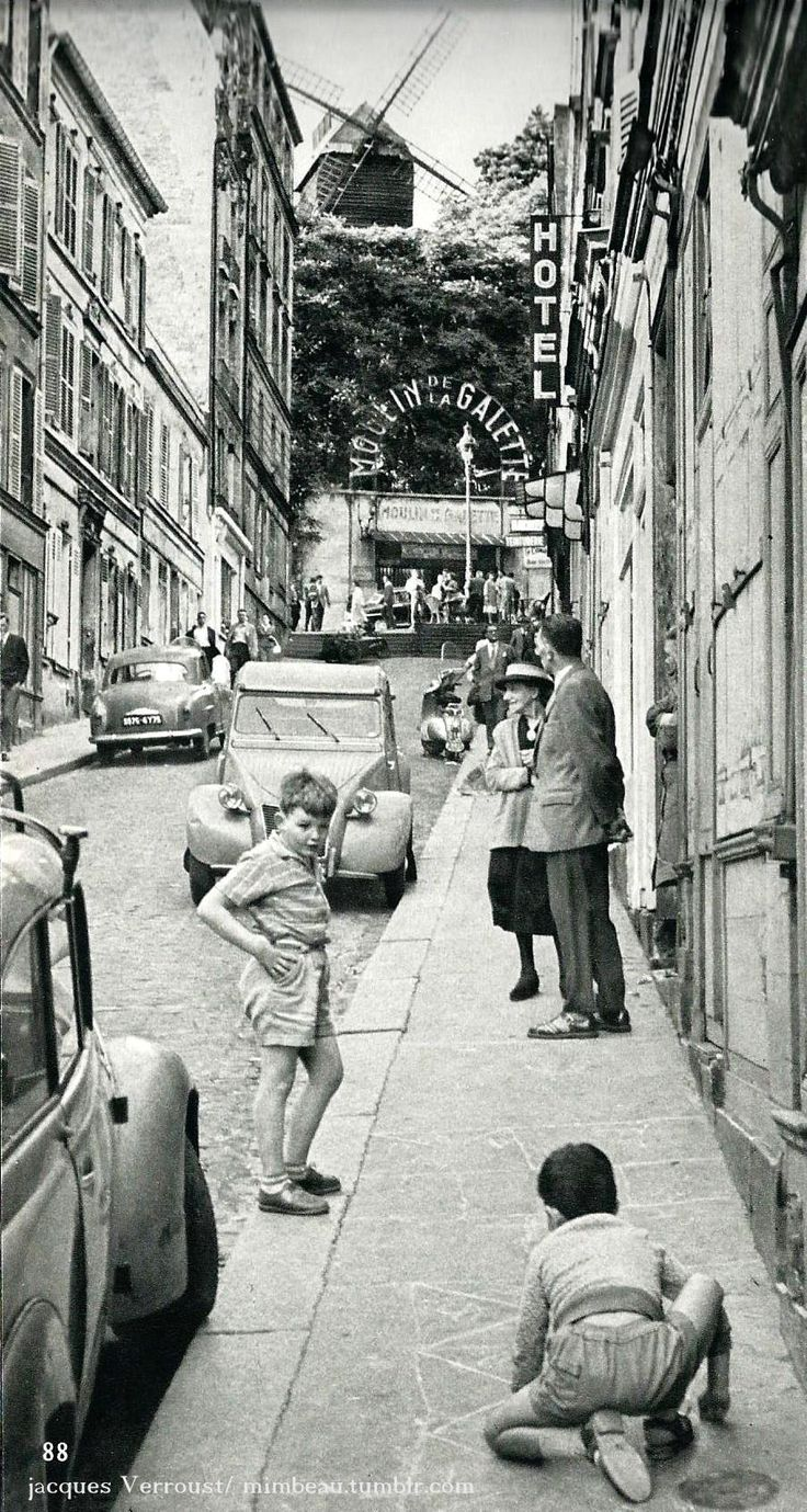 Le Moulin de la Galette- Montmartre Paris circa 1960 Jacques Verroust--WHAT A PHOTO!