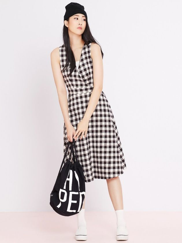 Image of Criss Cross Gingham Dress