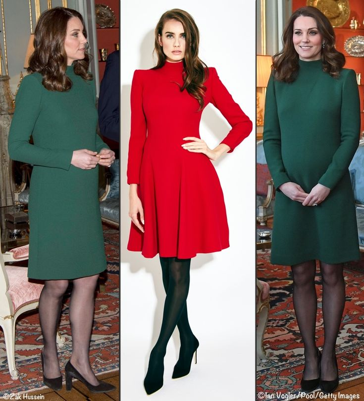 """And alongside Catherine Walker's """"Bea"""" style. The skirt on the Bea is much fuller than Kate's and the shoulders are raised at the seam, but the bodice and neckline do have some similarities. It is described online as """"A warm crimson and luxurious double wool crêpe coatdress gently tailored with a saddle shoulder, funnel neck, fitted sleeves and swirling skirt."""""""