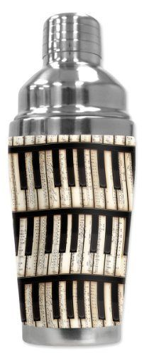 Mugzie® brand 16-Ounce Cocktail Shaker with Insulated Wetsuit Cover - Piano Keys by Art Plates. $25.95. Stain-resistant cover is printed in hi-resolution and has full-wrap coverage. Leak and spill proof lid. Non-skid bottom.. 16 Oz Stainless Steel Cocktail Shaker covered with water-proof, neoprene wetsuit material.. Cushioned cover affords a secure grip and eliminates condensation and sweating. Bottom counter-weighted bottom provides stability.. Hand-sewn fab...