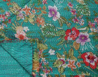 Handmade Kantha Quilt, Cotton Floral Kantha Bedspread, Twin Size, Traditional Bed Cover, Home Decor, Printed Bohemian Bedding