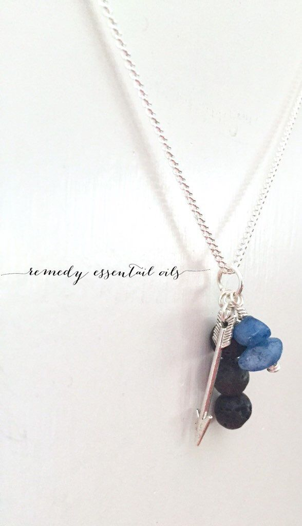 Lava Stone Diffuser Necklace; Blue Quartizite Chips & Silver Arrow Charm; Lava Bead Necklace; Essential Oil Diffuser; Aromatherapy by RemedyEssentialOils on Etsy https://www.etsy.com/ca/listing/468052846/lava-stone-diffuser-necklace-blue