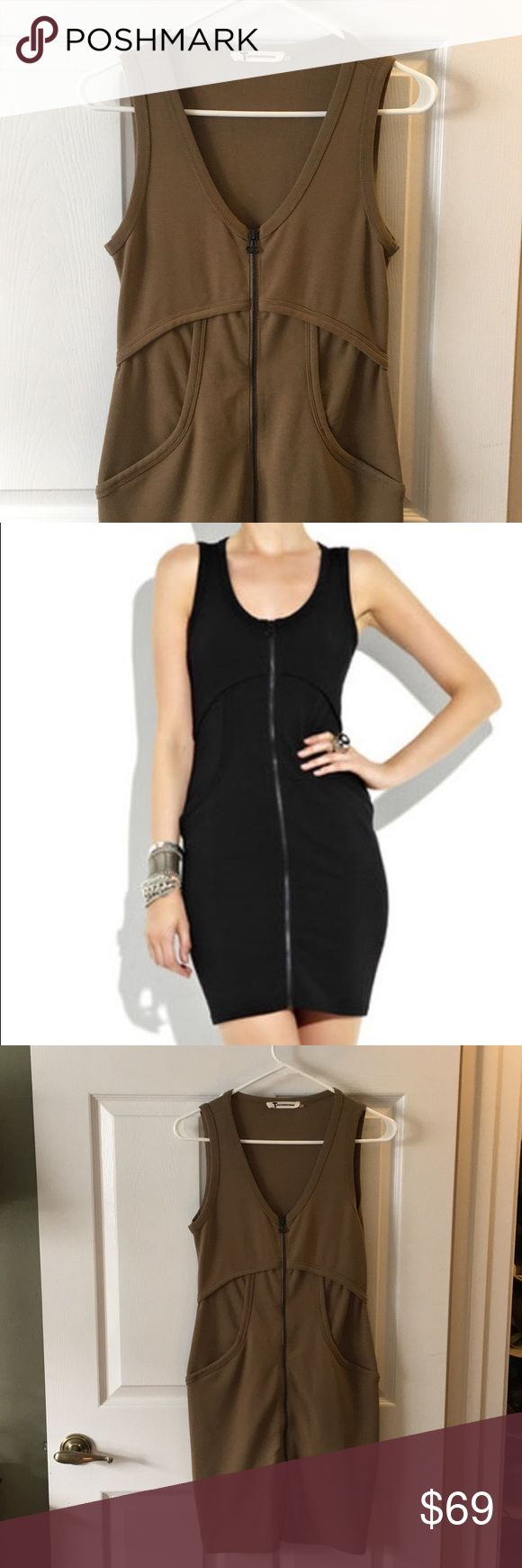 Alexander Wang bodycon dress (small) Camel colored  Thick jersey cotton  Pockets Brass zipper Size small to medium  Super flattering lines   Keywords: minidress, party, cocktail dress Alexander Wang Dresses Mini