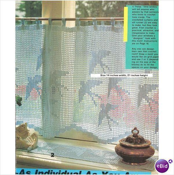 Crochet Curtain Pattern Curtain with Swallows on eBid United Kingdom