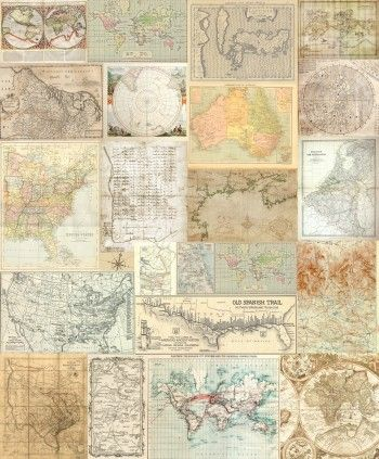 Old maps behang