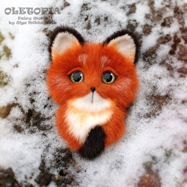 Брошечки-зверюшки) брошь, Чеширский кот, лиса, искусственный мех, рукоделие, своими руками