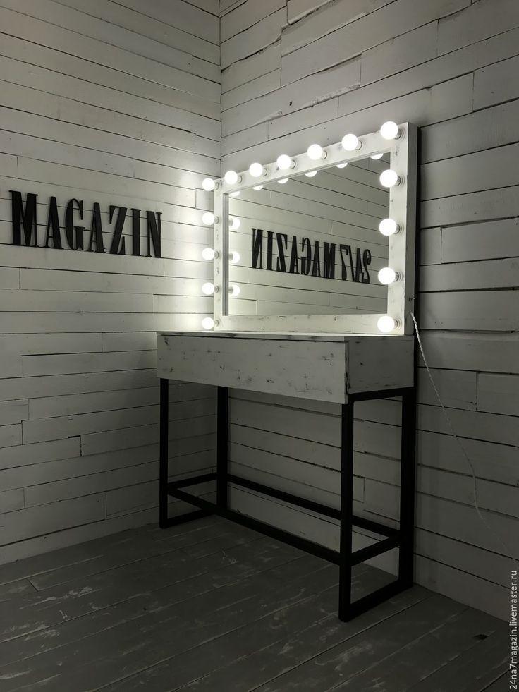 Купить Набор визажиста SACRAMENTO. - чёрно-белый, зеркало, зеркало визажиста, зеркало косметическое