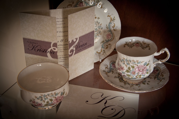 A beautiful classic wedding invite perfect for that afternoon tea wedding setting.