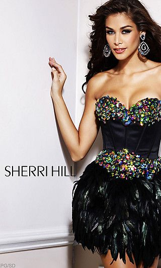SH-2886: Short Black Multi Dress with Feathered Skirt