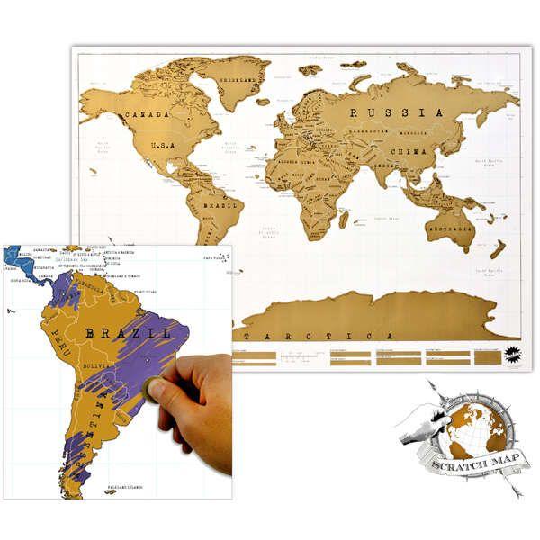 Weltkarte zum frei Rubbeln