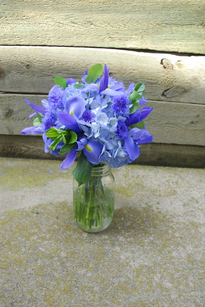 Blue Hydrangea, Iris, and Cornflower Wedding Bouquet by Lilywinkel.com