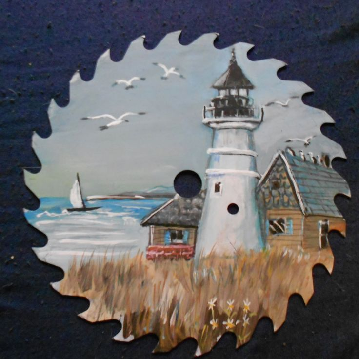 HAND PAINTED SAW BLADE~ LIGHTHOUSE BLUE ROOF , Art :: Direct from the Artist :: Artist Paintings :: Artist Acrylic :: Bullszi.com