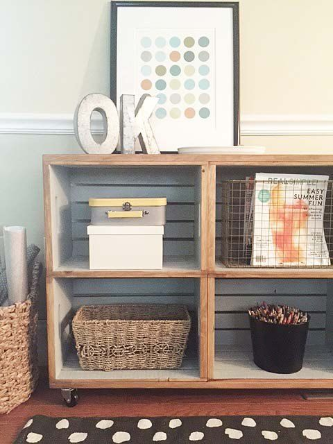 17 best ideas about wood crate shelves on pinterest diy for Re storage crate