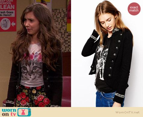 Riley's black military jacket on Girl Meets World.  Outfit Details: http://wornontv.net/36814/ #GirlMeetsWorld